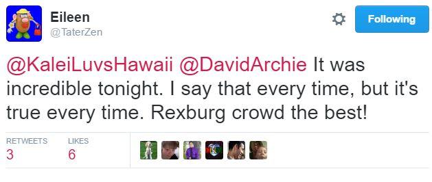 rexburg tweet after the show