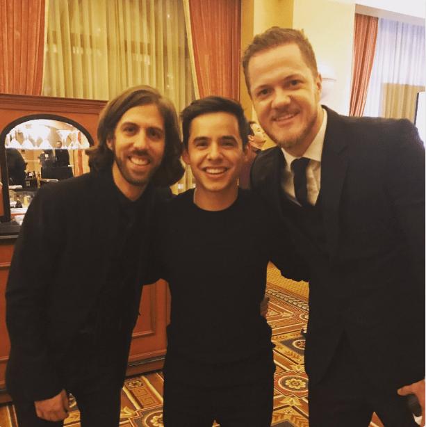 David Archuleta with Imagine Dragons: Dan Reynolds & Wayne Sermon at the #trfgala in Vegas