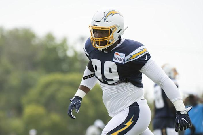 Los Angeles Chargers defensive tackle Jerry Tillery during an NFL football training camp in Costa Mesa, Calif., Monday, July 29, 2019. (AP Photo/Kyusung Gong)