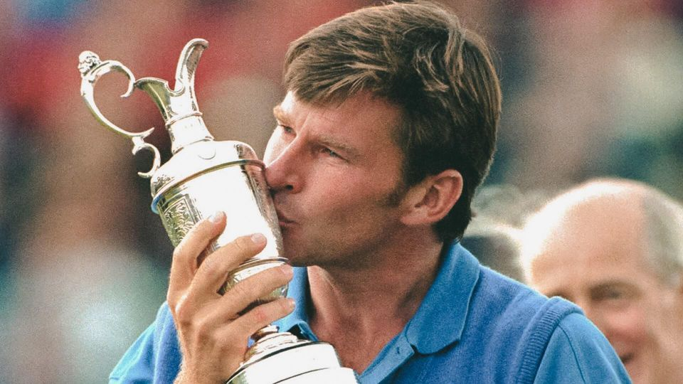 Nick Faldo Britain's Nick Faldo kisses the trophy after he won the British Open golf tournament at Muirfield in Scotland.