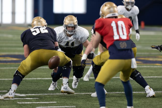 Notre Dame football players at a 2021 spring practice