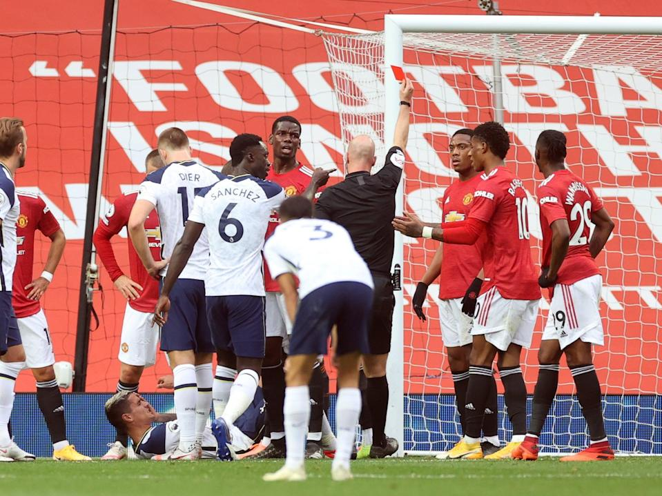Anthony Martial saw red against Tottenham earlier this season (AFP via Getty Images)