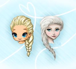Edited Fantagian Elsa and hand-drawn Elsa!
