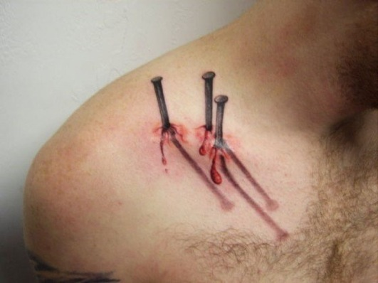 Nailed it-Crazy 3D Tattoos