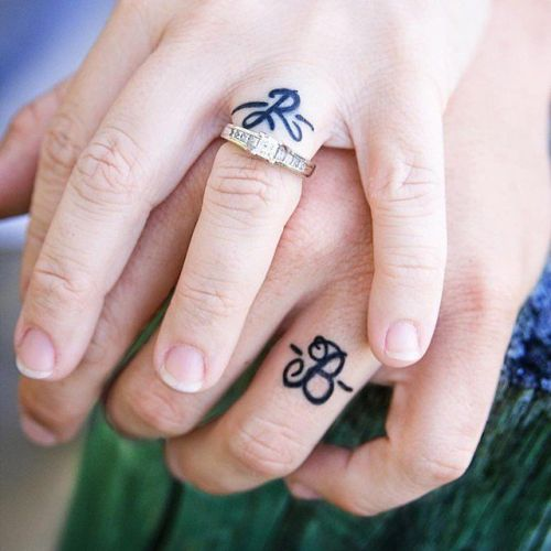 Wedding rings - matching couple tattoos