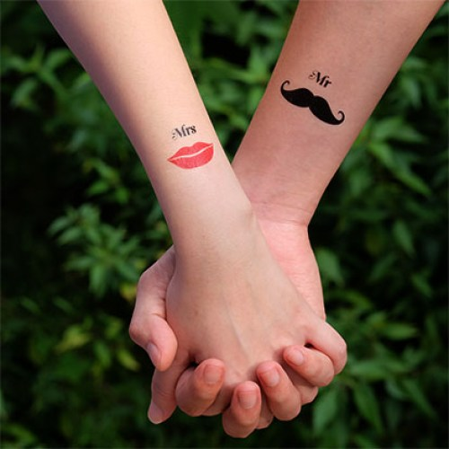 Mr. and Mrs. - matching couple tattoos