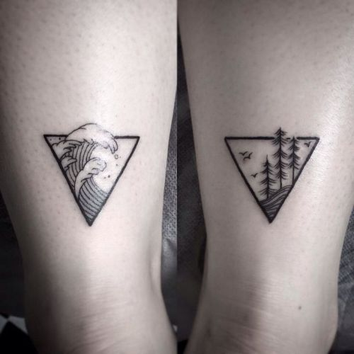 Favorite travel destination - matching couple tattoos