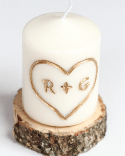 Love carving on a Candle - romantic diy gift ideas