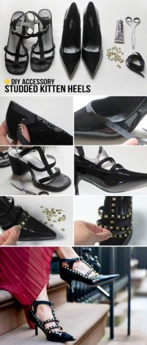 Studded Kitten Heel Shoes - fabulous shoe makeovers