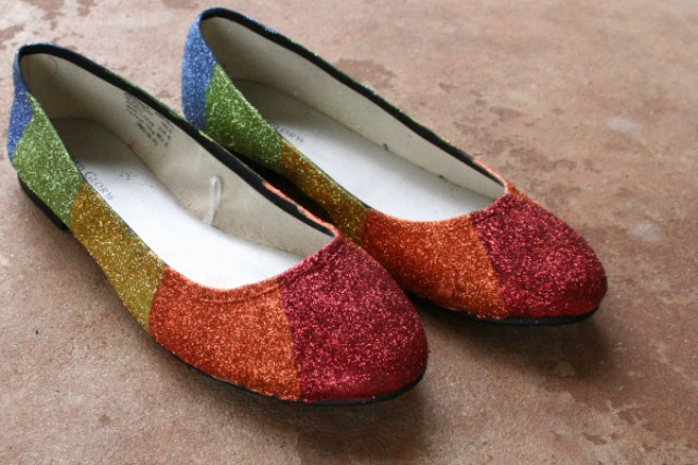 Rainbow Glitter Shoes - fabulous shoe makeovers