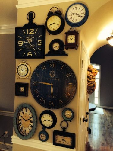 Clock wall - creative gallery wall ideas