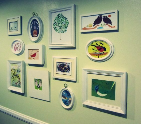 Collage of your own paintings - creative gallery wall ideas