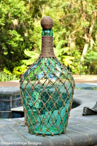 Netted Wine Bottle - empty wine bottle projects