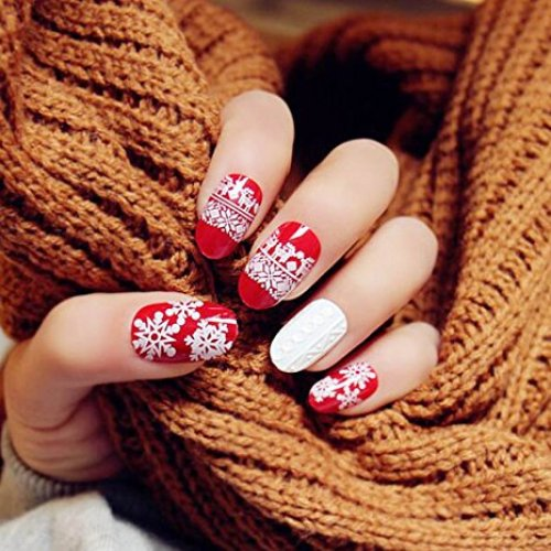 Yean Set Of 24 Bridal False Nail Vintage Christmas X-mass Red Winter Snow Fake Nail Strips With Glue And Adhesive Tab For Women And Girl
