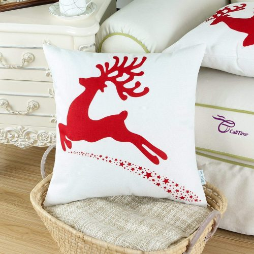 CaliTime Christmas Reindeer with Stars Print - Christmas Pillow Covers