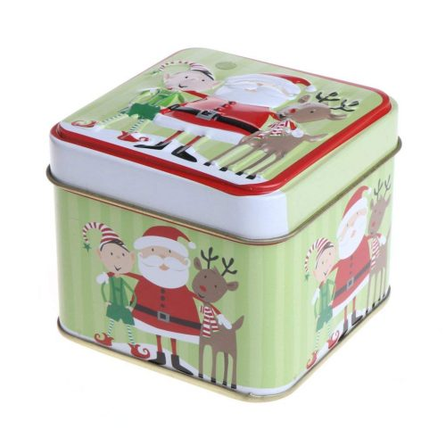 SELFON Christmas Style Square Tin - Christmas Cookie Tins