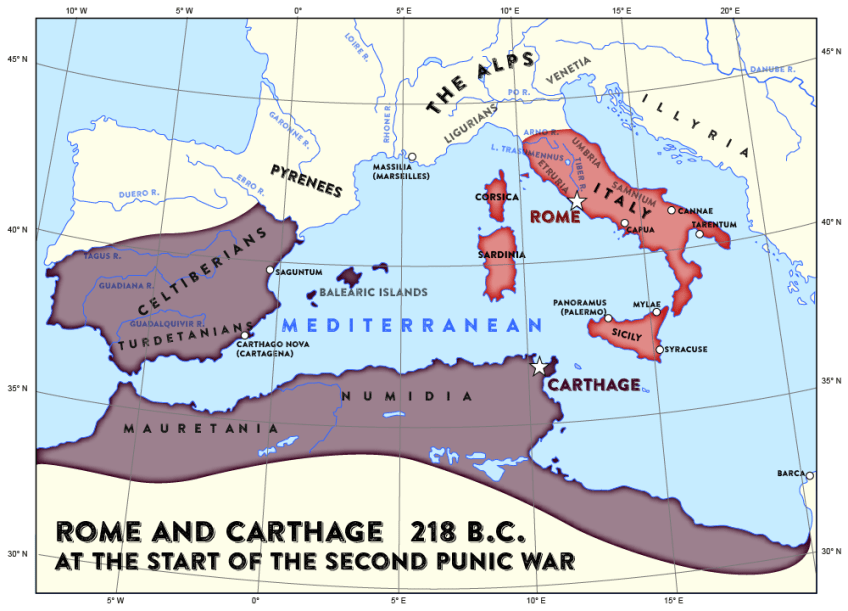 Map of Rome and Carthage at the start of the second Punic War ... Carthage Map on