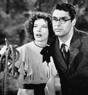 Katharine Hepburn and Cary Grant film still from Bringing Up Baby (1938)