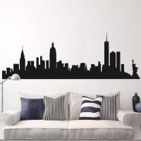 New York Skyline Silhouette Wall Decal Enam Wallpaper
