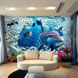 3d living creative tv wall wallpapers underwater dolphin should check decor font stereoscopic dhgate backdrop via