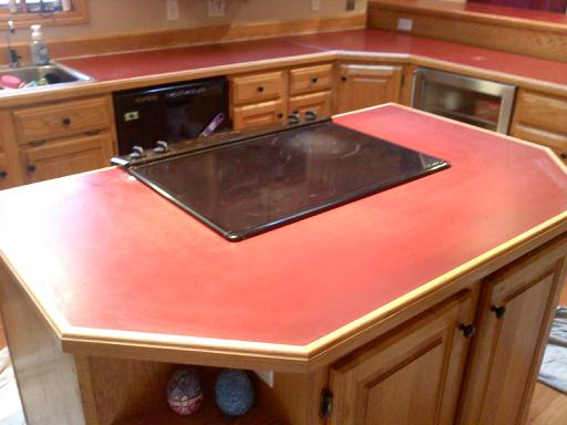 Exceptional Red Laminate Countertop With Wood Trim Fantastikresurfacing Photo Gallery