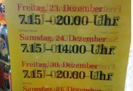 Sluitingstijden Kerst