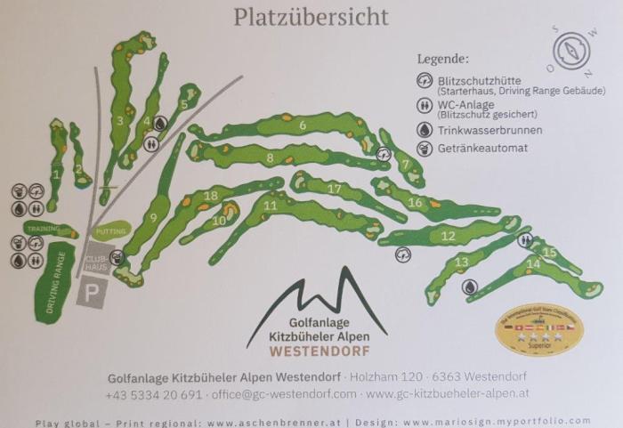 Golfkaart Golfbaan Westendorf Overzicht