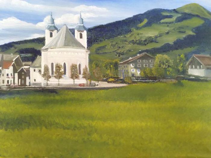 Brixen im Thale Ederhut Vrienden van FANtastisch Oostenrijk Wim de Vroome Olieverf schilderij