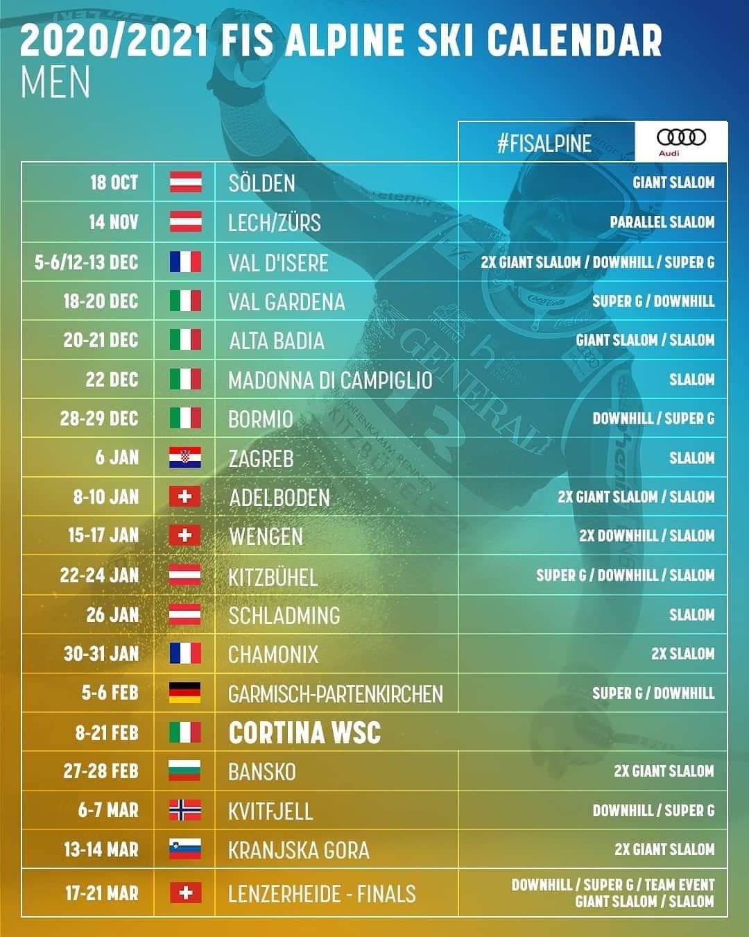 FIS Alpine Skiën kalender 2020 2021 mannen