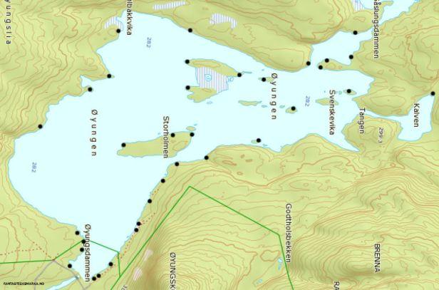 Kartutsnitt over Øyungen med avmerking av teltplasser - Oslomarka - Nordmarka - Fantastiske marka