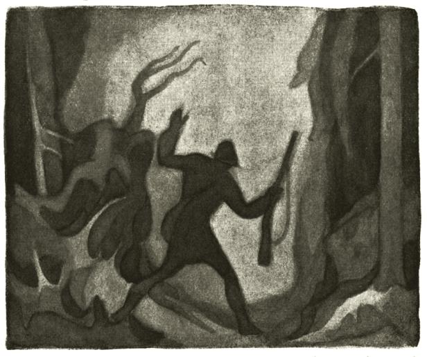 Illustrasjon av Torleif Rud til boka En Jegers Erindringer av Bernhard Herre_1925