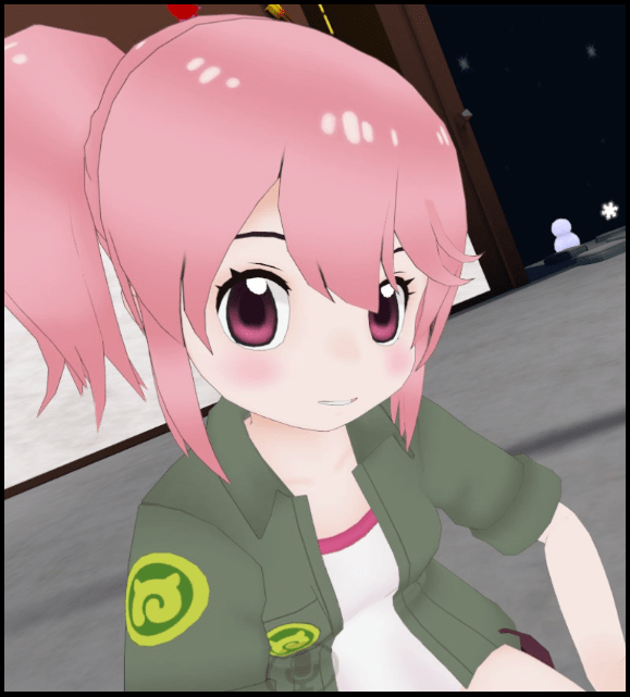 Derpmare, a pink-haired anime girl, poses for a photo.