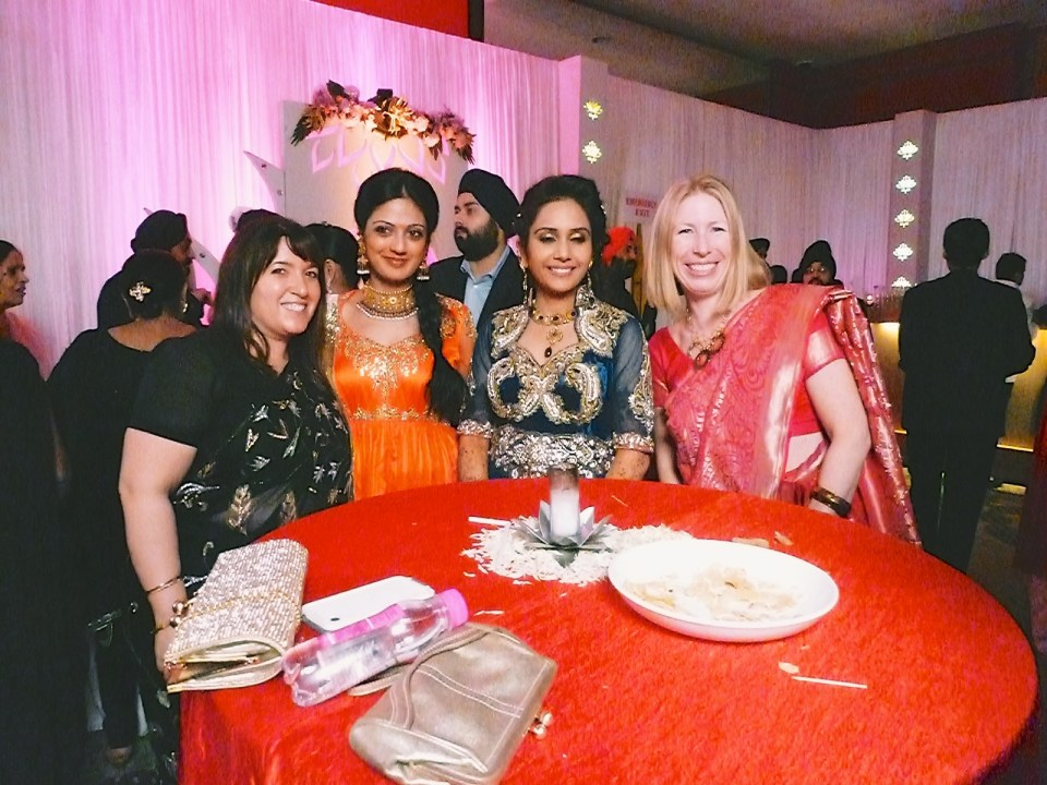 Friends at a Sikh wedding.