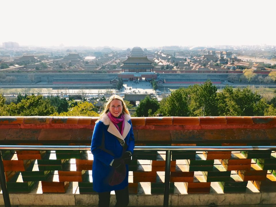 Overlooking the Forbidden City from a lookout point above.