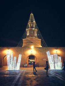 Tower with light sculptures, Cartagena, Colombia, Fantasy Aisle travel