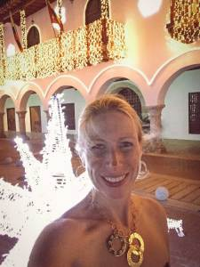 Kelly with a star light sculpture, Cartagna, Colombia, Fantasy Aisle Travel