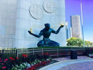 Fantasy Aisle, The Spirit of Detroit, a bronze sculptured completed in 1958.