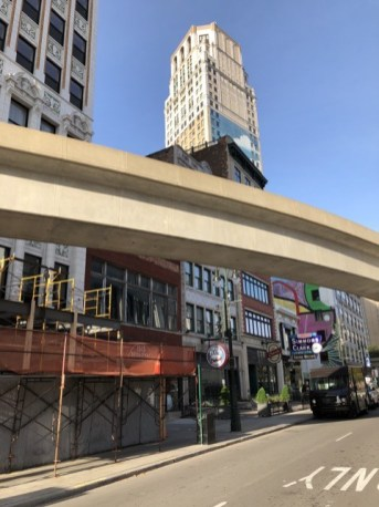 Fantasy Aisle, People Mover tracks, above ground tram zipping around Detroit