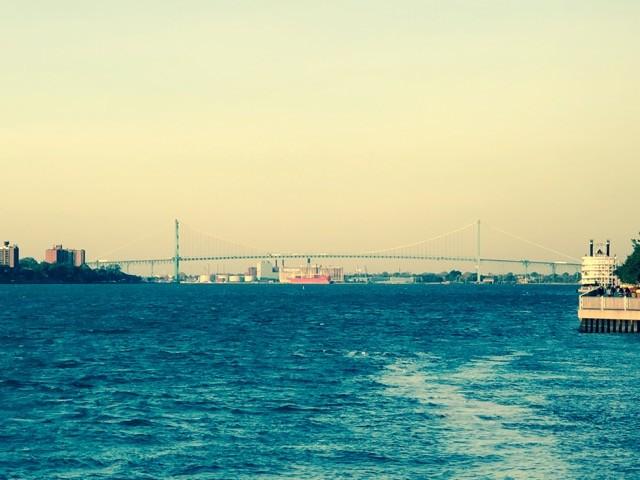 Fantasy Aisle, Ambassador Bridge of Detroit River connecting Detroit, USA to Windsor, Canada
