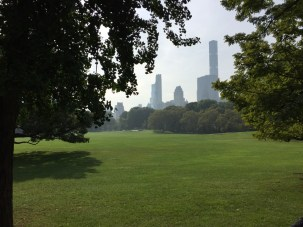 Fantasy Aisle, View of Sheep Meadow and the cityscape in Central Park