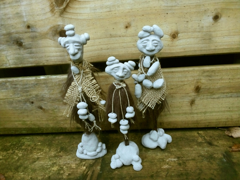 Fantasy Creations Pebble People Fantasy stone clay art collage handcrafted natural