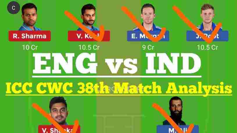 IND vs ENG ICC CWC 38th Match Dream11 Prediction
