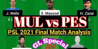 MUL vs PES PSL 2021 Final Match Dream11 Team Preview