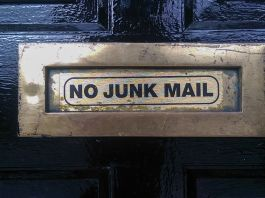 No junk mail sign on a door