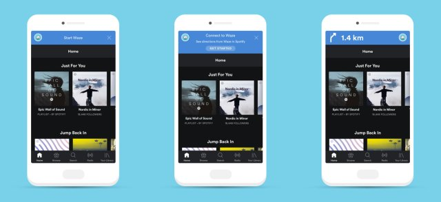 mockup screenshot of spotify and waze