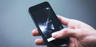 uber app opening on smartphone