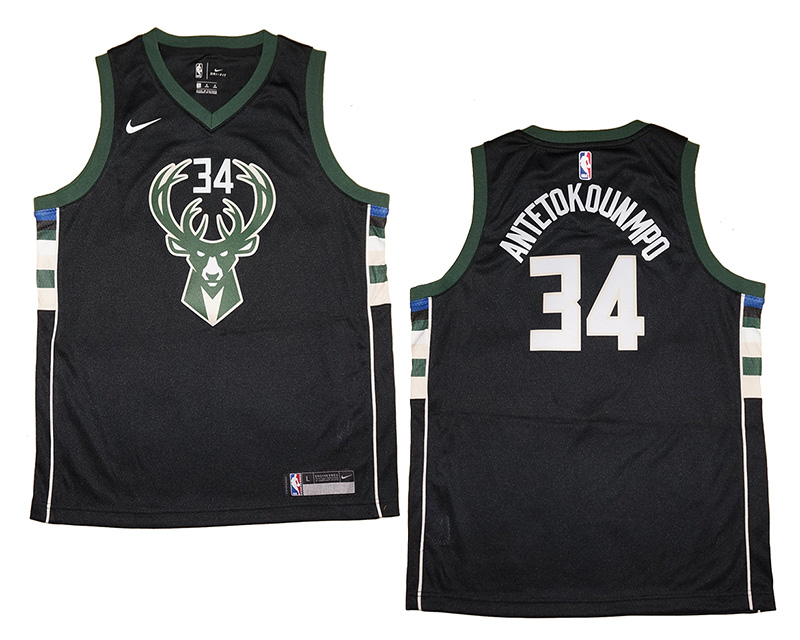 921c2056f37 Youth Nike Giannis Antetokounmpo #34 Milwaukee Bucks Black Swingman ...