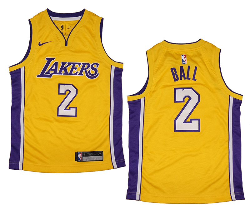 5fac50a1173 Youth Nike Los Angeles Lakers  2 Lonzo Ball Gold Swingman Jersey ...