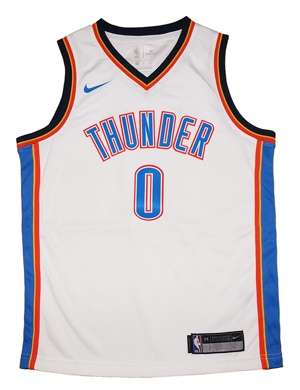 5f043f372 Youth Nike OKC Thunder  0 Russell Westbrook White Swingman Jersey ...