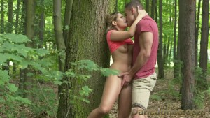 Cute blondie Dane Jones fucks her beefy boyfriend out in the forest